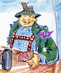 Kartenspielender Bierdimpfl aus der Bayerischen Witzesammlung